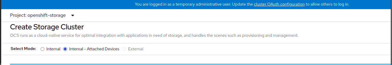 Screenshot of Create Storage Cluster page