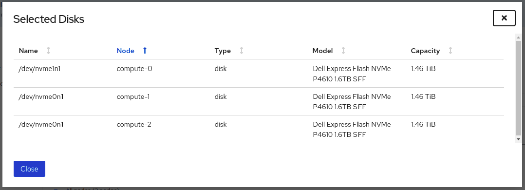 Screenshot of list of disks displayed from the selected capacity chart.