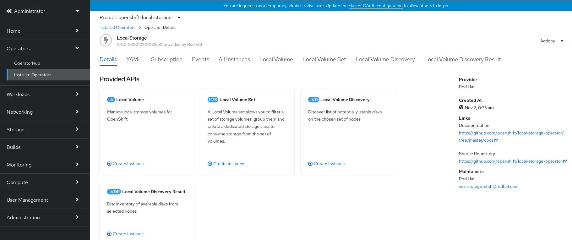 Screenshot of Local Volume Set tab on Local Storage Operator dashboard.