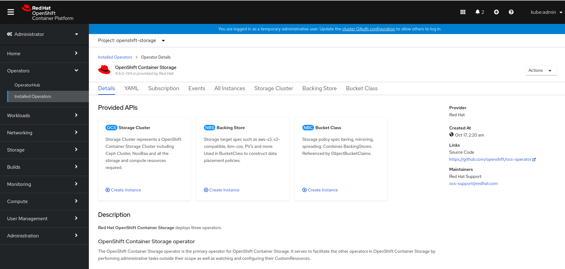 Screenshot of Storage Cluster tab on OpenShift Container Storage Operator dashboard.