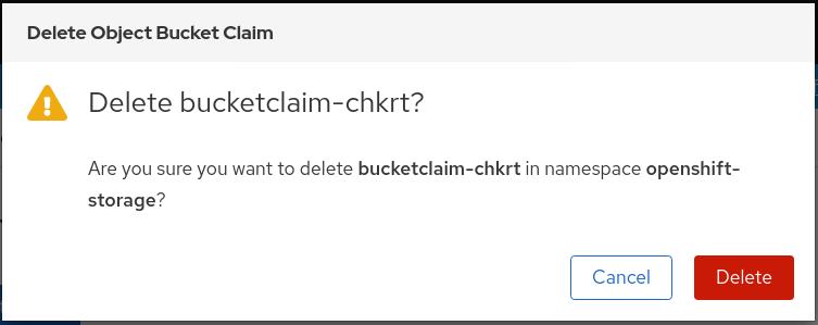 MCG delete object bucket claim