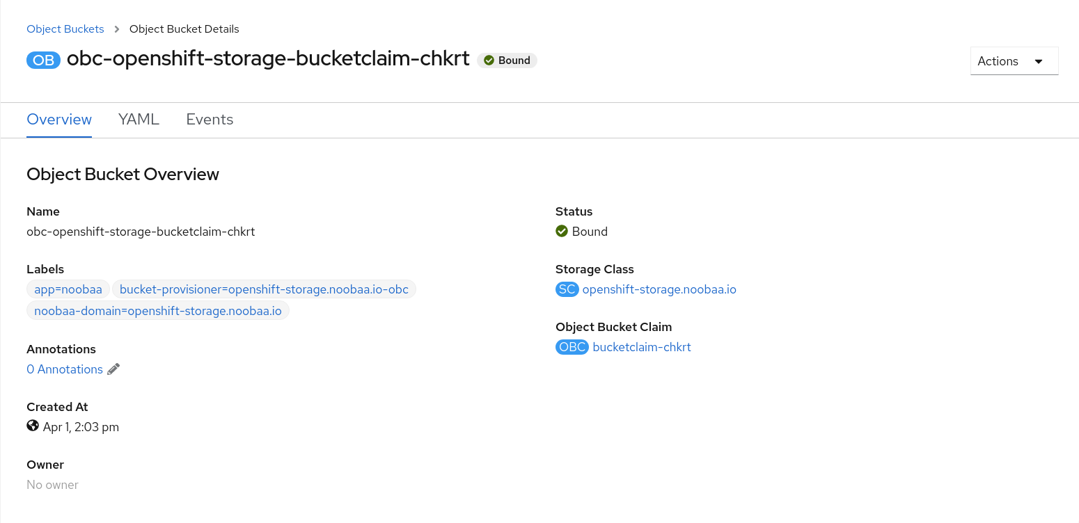 对象 Bucket Details 页面