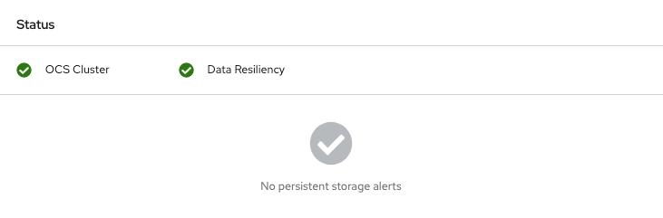 RHOCP storage dashboard showing the healthy OSD.