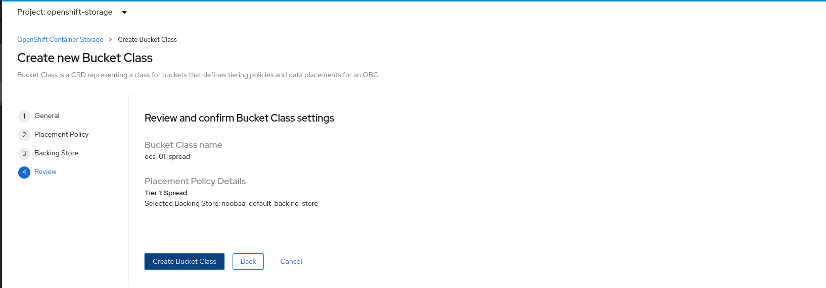 Screenshot of bucket class settings review tab.