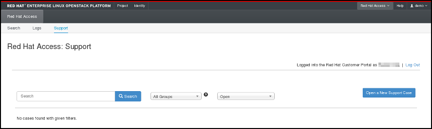 Red Hat Access Tab - support cases