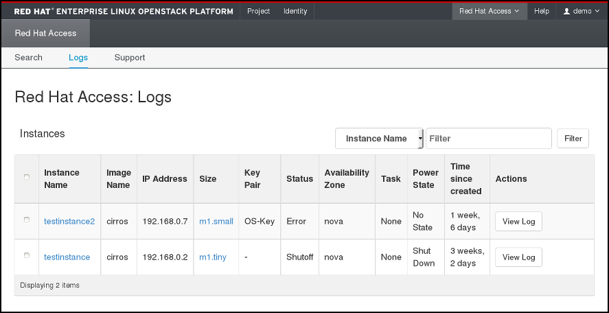 Red Hat Access Tab - instance logs
