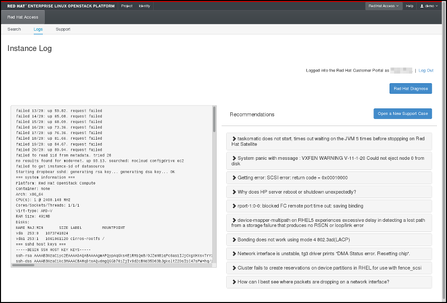 Red Hat Access Tab - instance log details