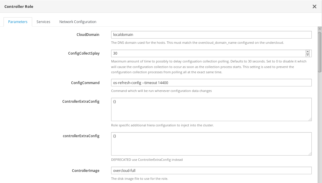 Parameters for Role Configuration