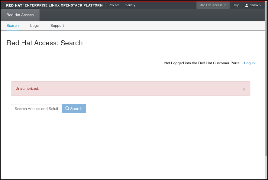 Red Hat Access Tab - begin searching