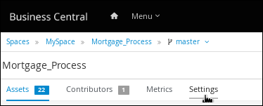 Selecting the settings tab