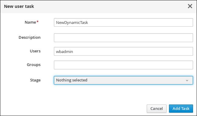 showcase dynamic user task