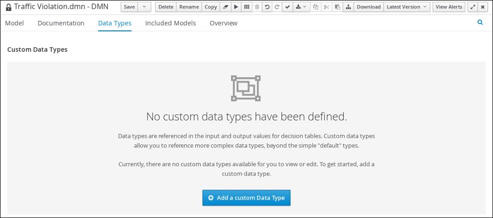 dmn custom datatypes tab
