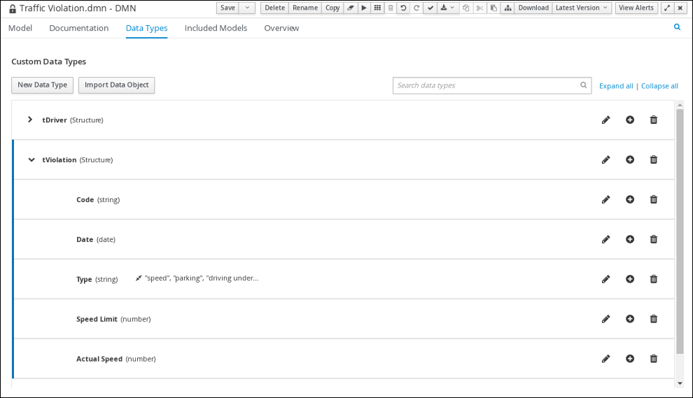 dmn tViolation custom datatype