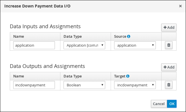 Screen capture of the Increase Down Payment Data I/O assignments