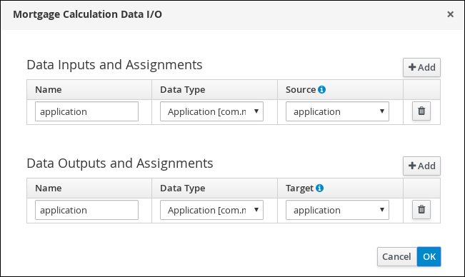 screen capture of the Mortgage Calculation Data I/O assignments
