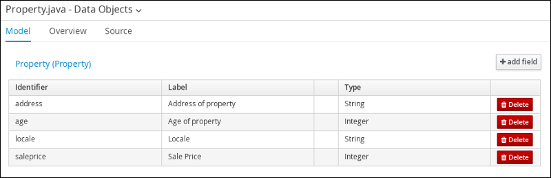 screen capture of the Property data object field values