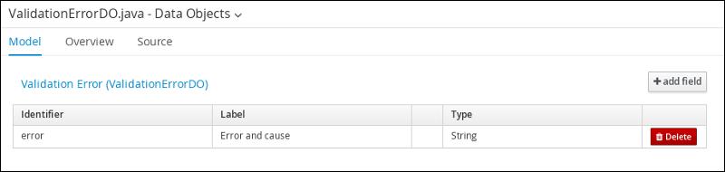 screen capture of the ValidationErrorDO data object field values