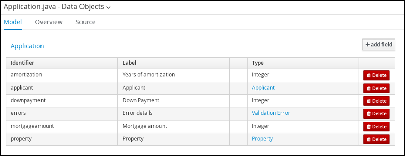 screen capture of the Application data object field values