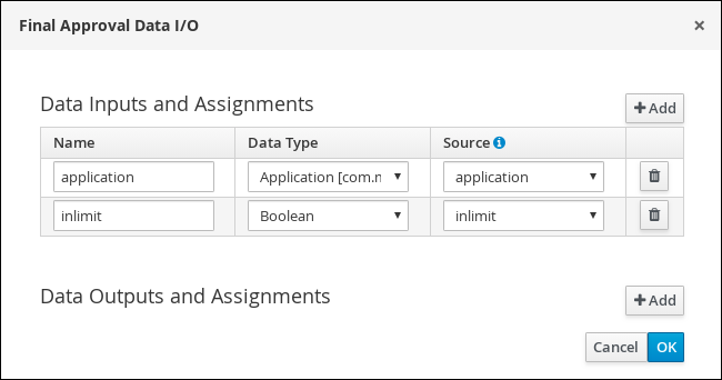 Screen capture of the Final Approval Data I/O assignments