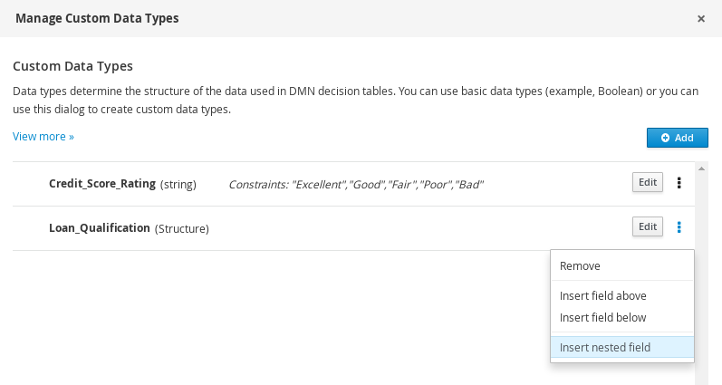 dmn manage data types structured