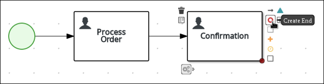 Creating an outgoing connection from the Confirmation user task