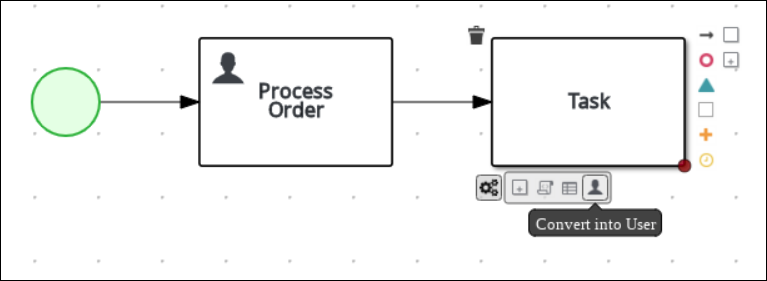 Converting in to a user task