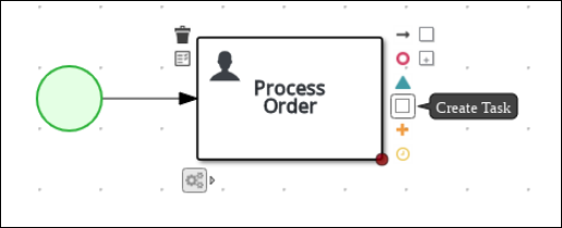 Creating an outgoing connection from the Process Order task to a user task