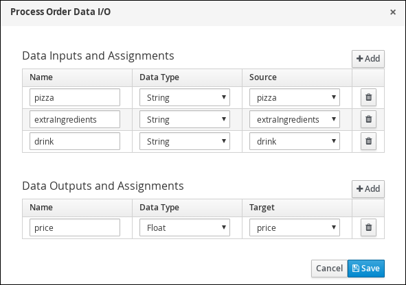 Input values in to the Process Order Data input and output assignments window