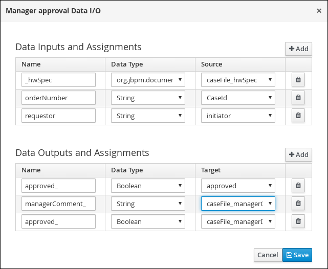 Manager approval I/O values