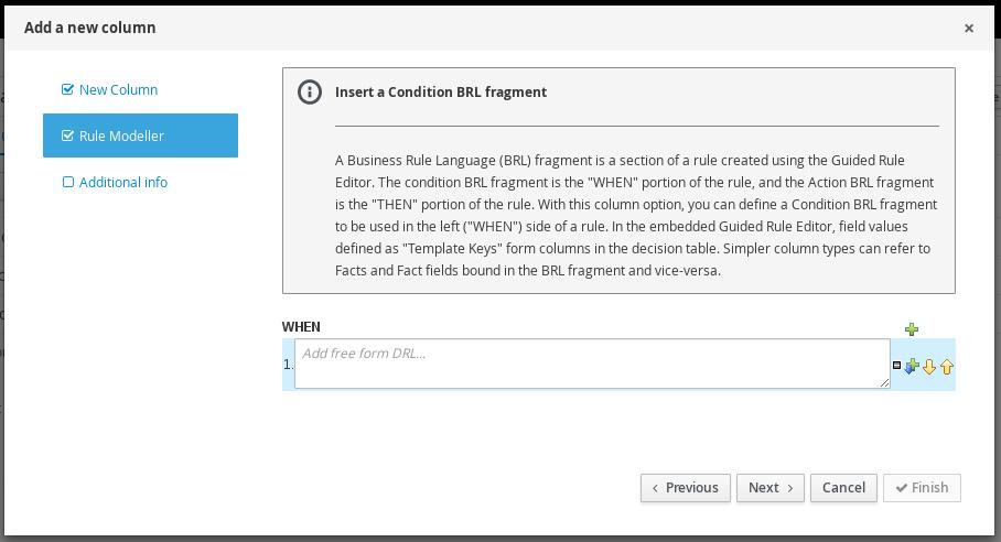 Condition BRL Fragment column for guided decision tables designer