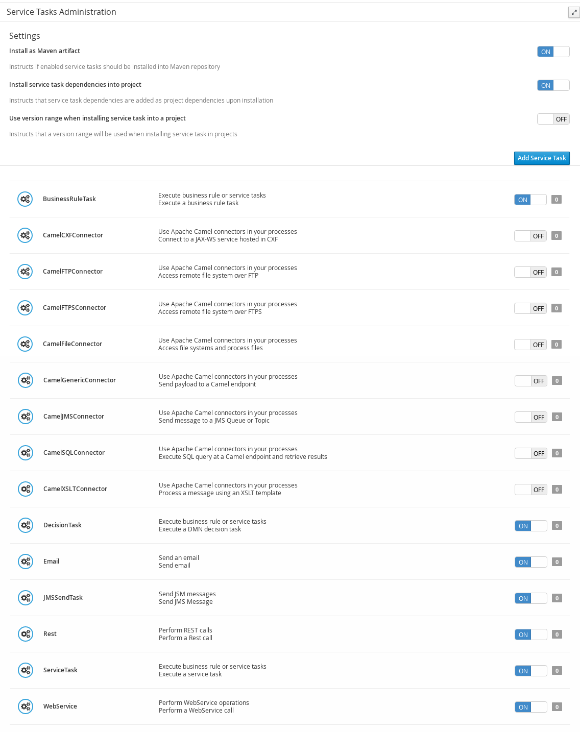 Service Tasks Administration page