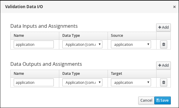 Screen capture of the Validation Data I/O assignments