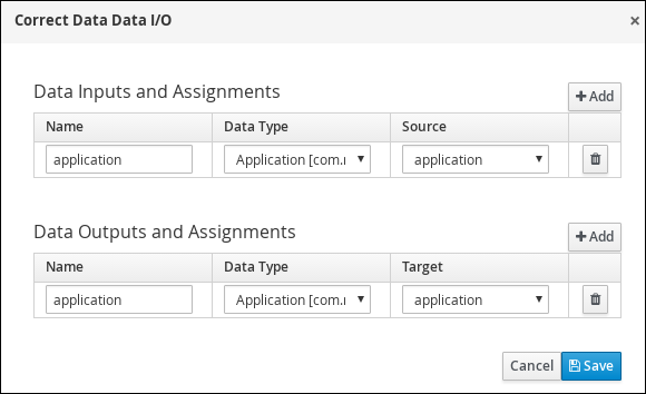 Screen capture of the Correct Data Data I/O assignments