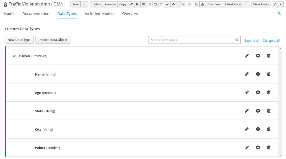 dmn tDriver custom datatype