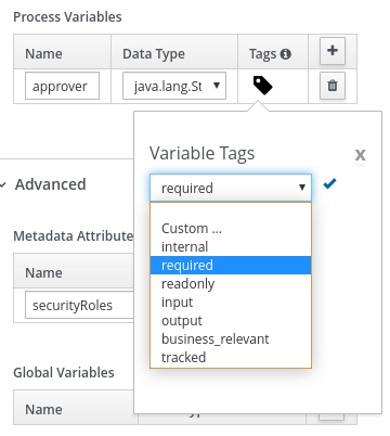 Image of variable tags in BPMN modeler
