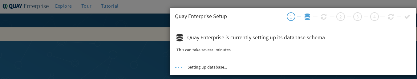 Wait several minutes as the database schema setup completes