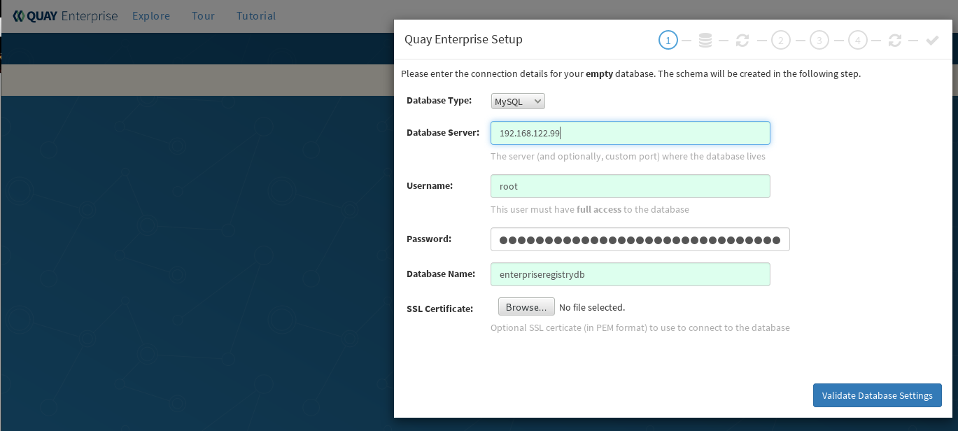 Identifying the database Red Hat Quay will use