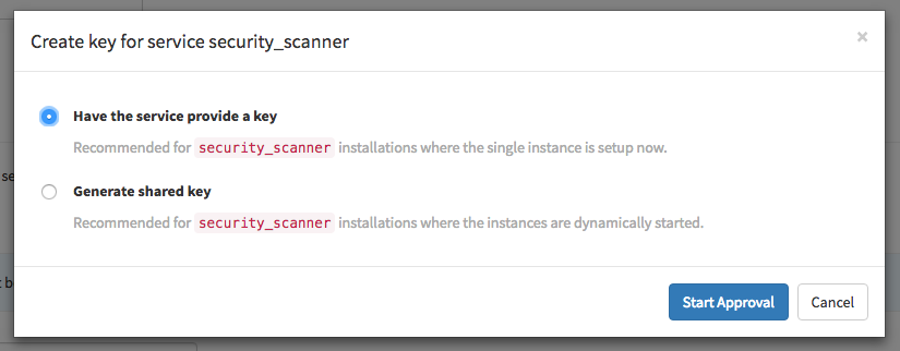 Provide key for security scanner