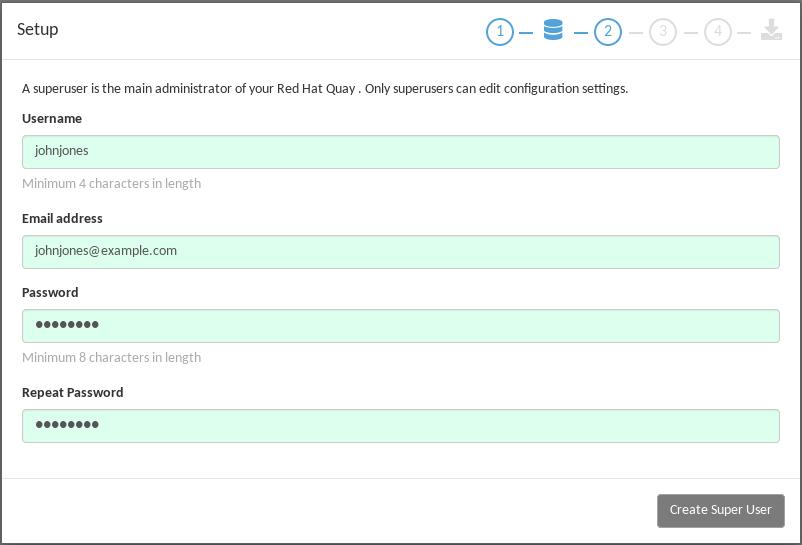 Set up a Quay superuser account to do Quay configuration