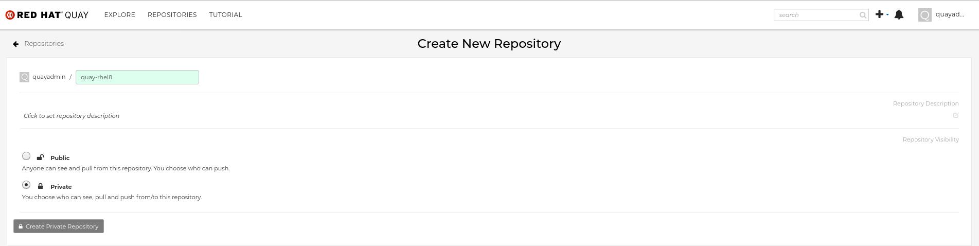 Create new Red Hat Quay repo