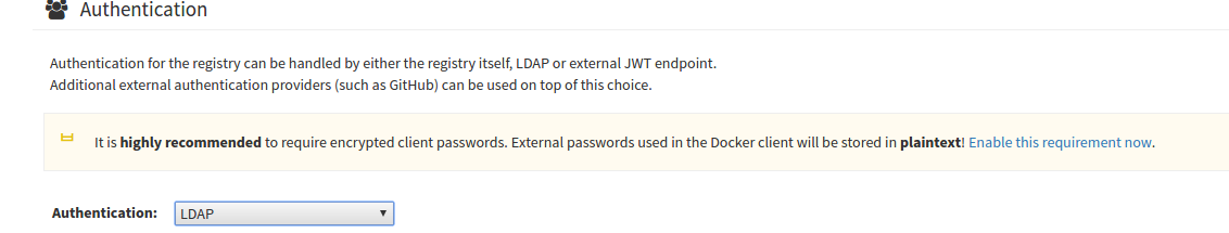 Select LDAP from the Authentication section