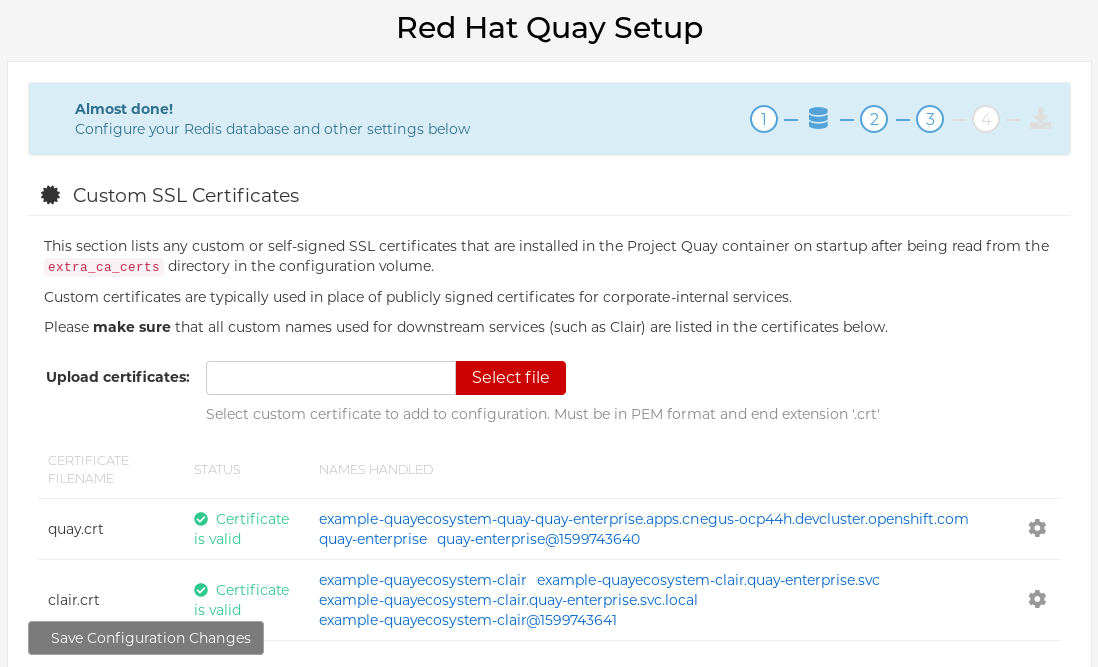 Modify Red Hat Quay cluster settings from the Config Tool