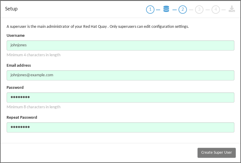 Set up a Red Hat Quay superuser account to do Red Hat Quay configuration