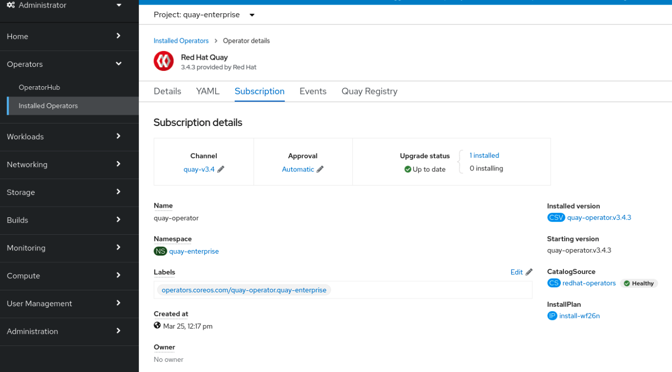 Subscription tab including upgrade Channel and Approval strategy