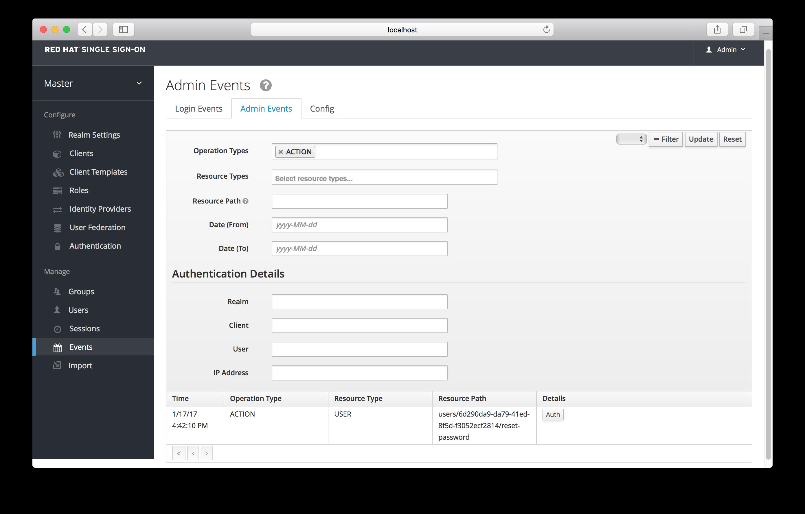 admin events filter