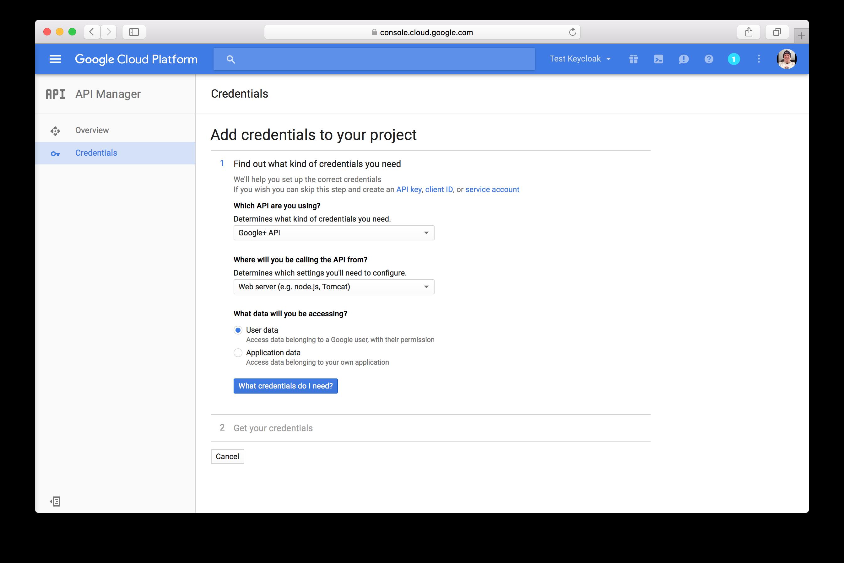 google add credentials