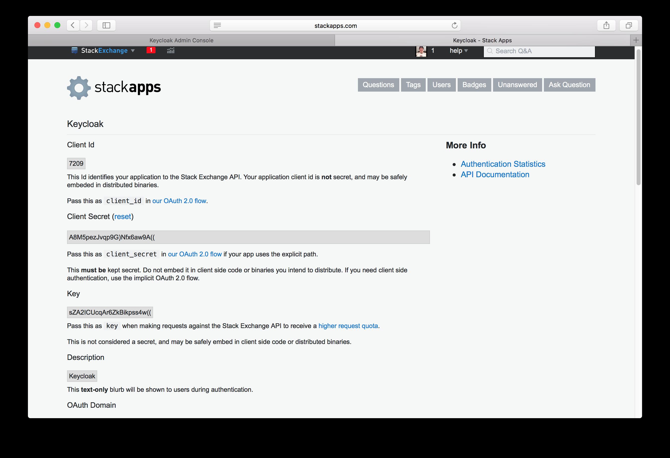 stack overflow app settings