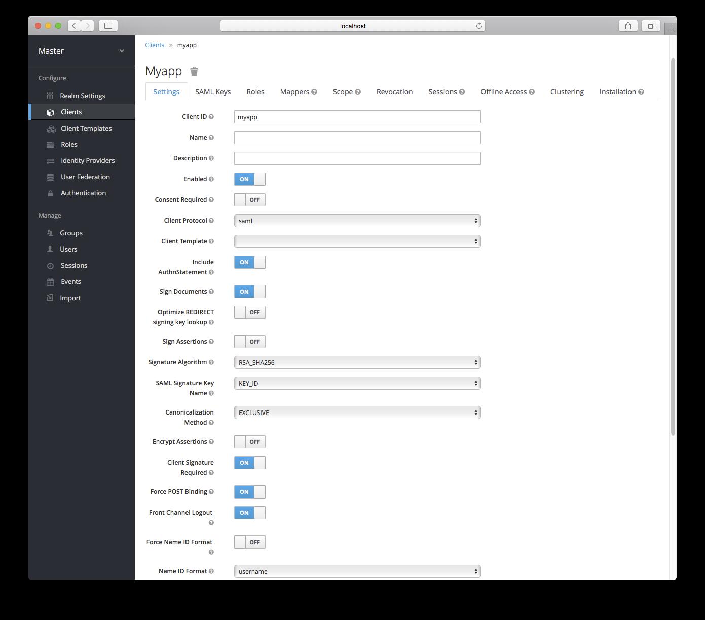 client settings saml