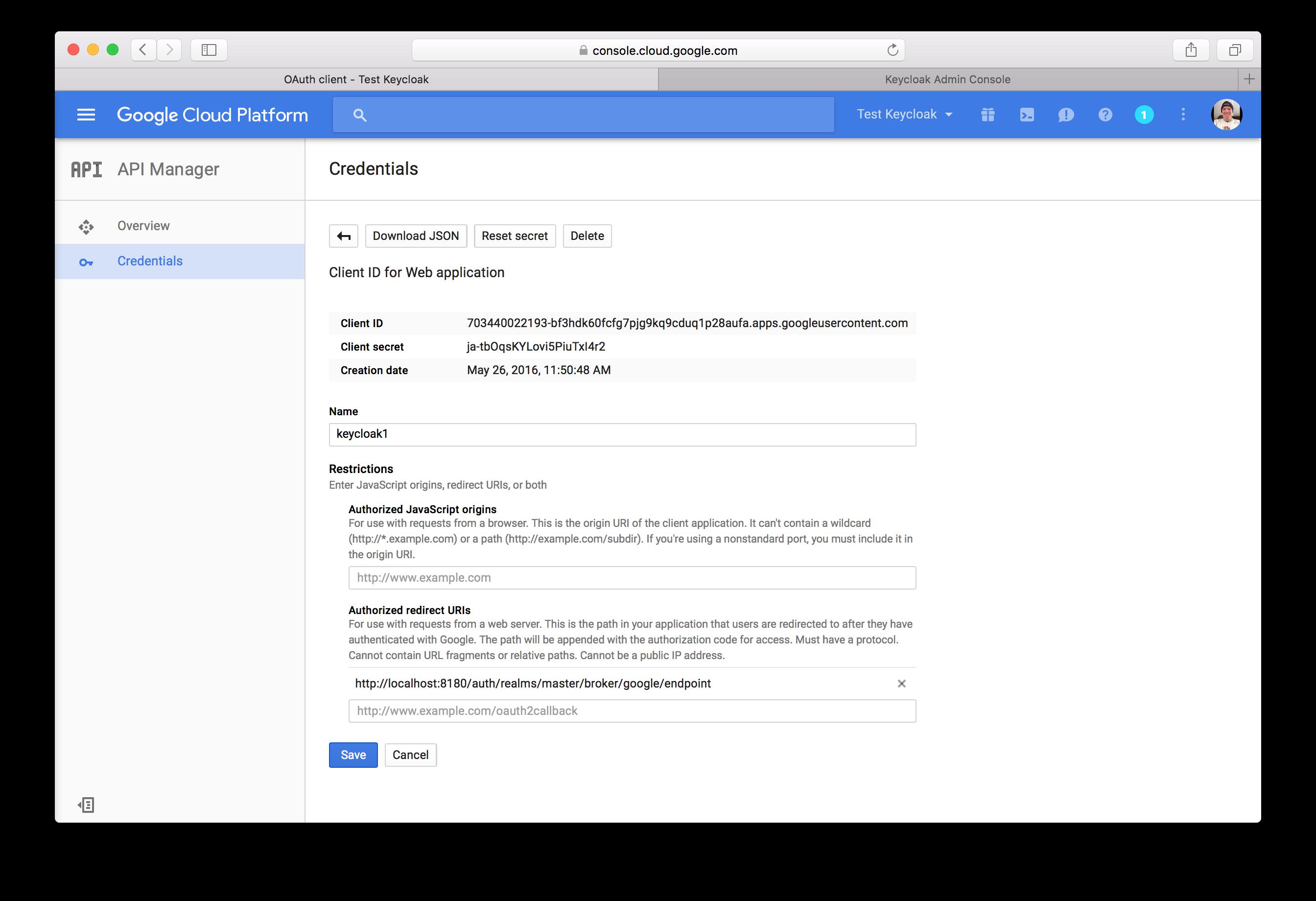 google client credentials