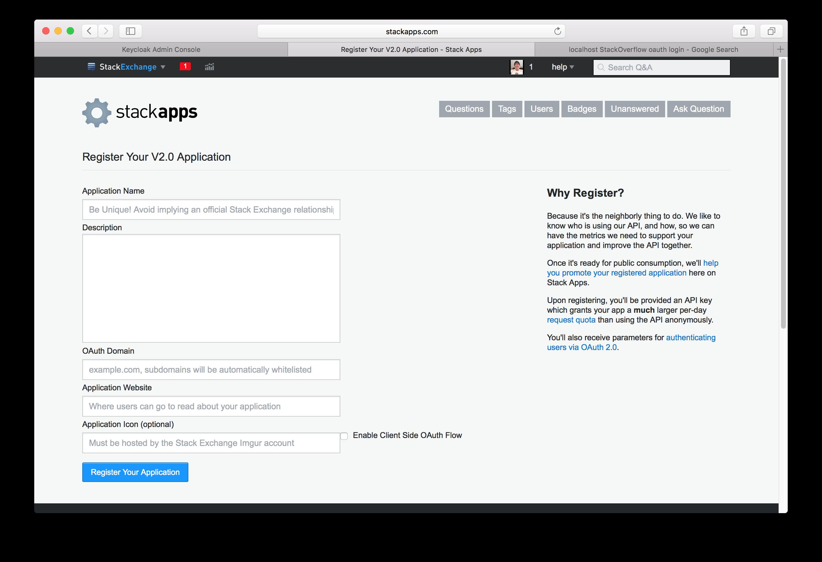 stack overflow app register